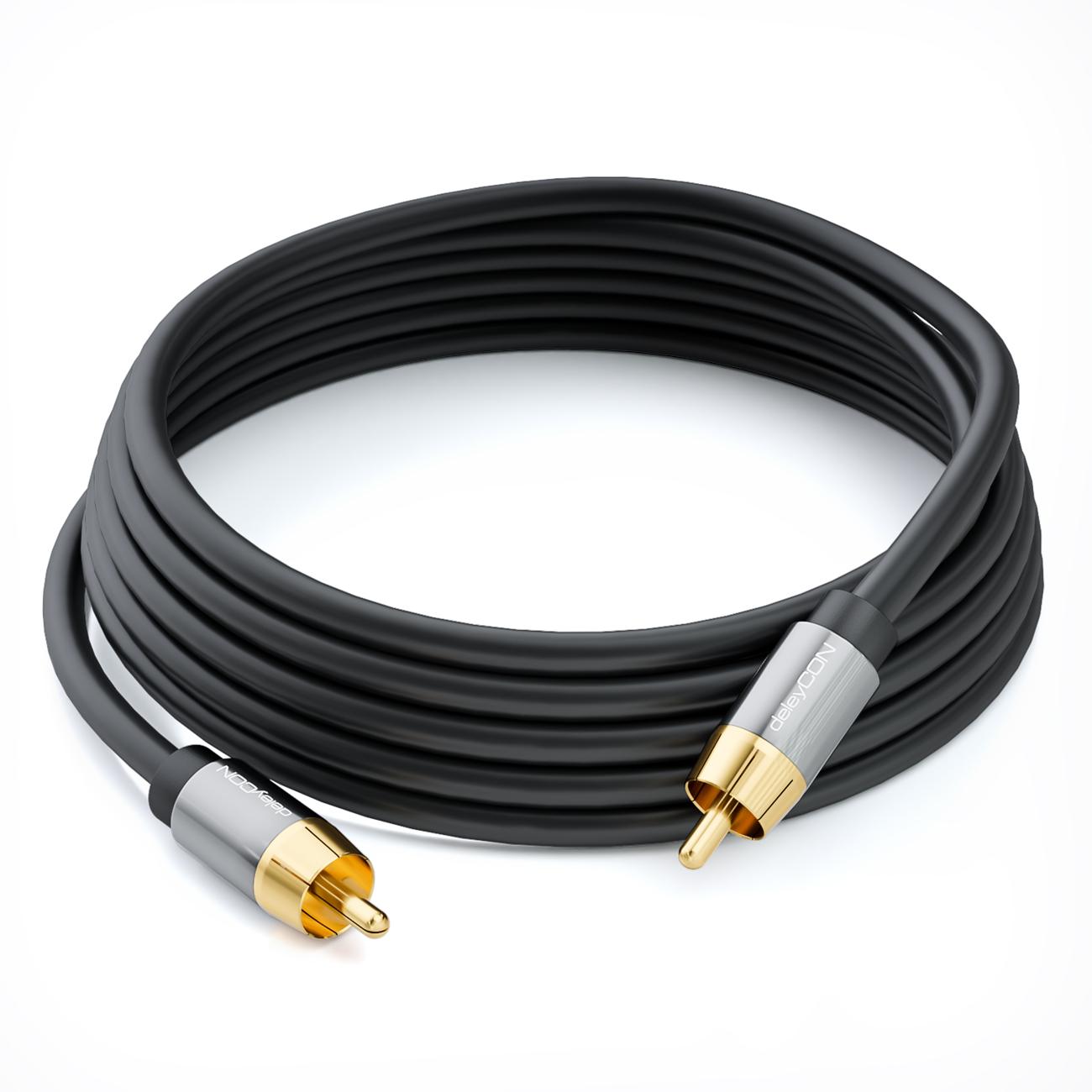 deleycon 5m subwoofer kabel cinch rca kabel 2x cinch. Black Bedroom Furniture Sets. Home Design Ideas