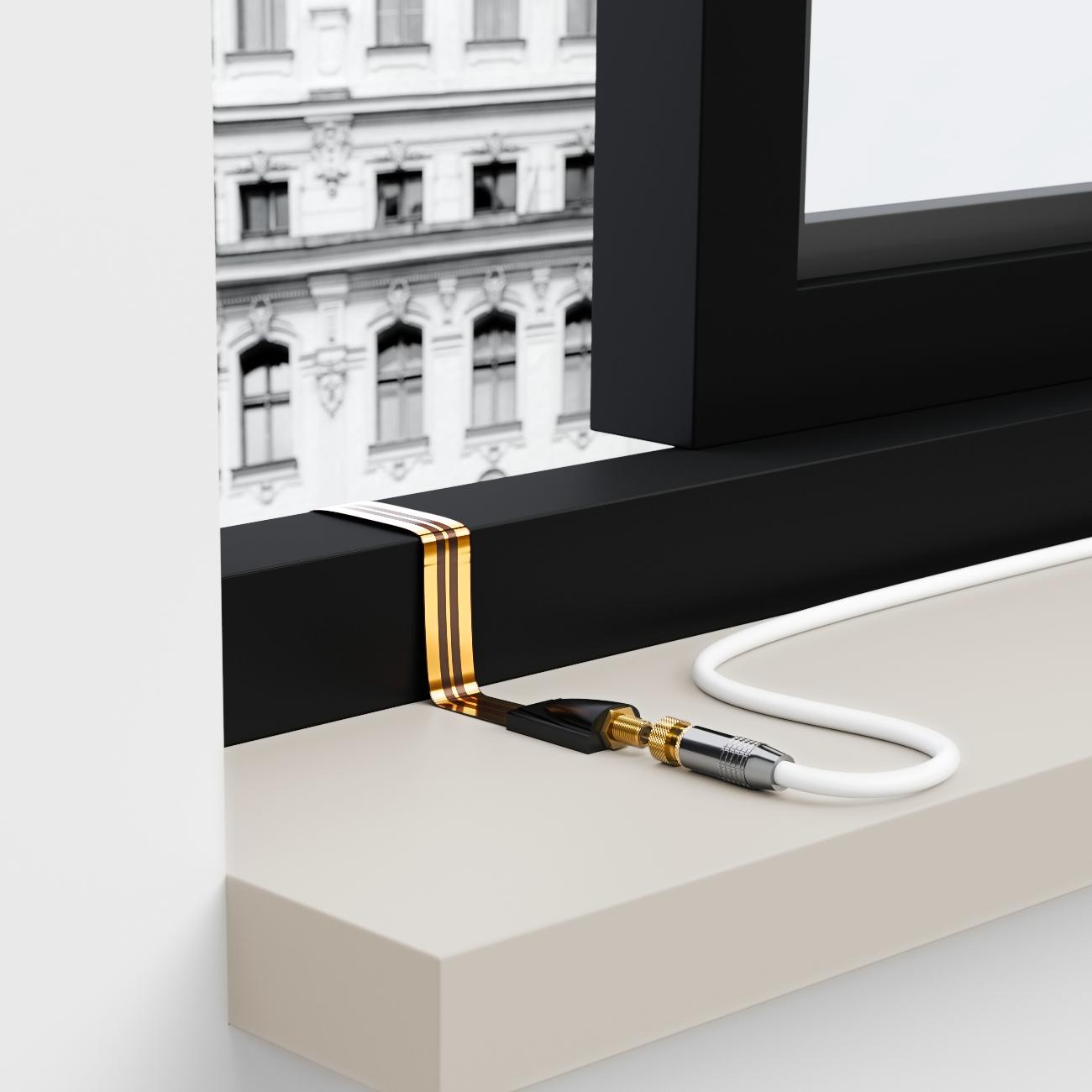 deleycon 5x sat fensterdurchf hrung flachkabel sat kabel hd fenster durchf hrung ebay. Black Bedroom Furniture Sets. Home Design Ideas