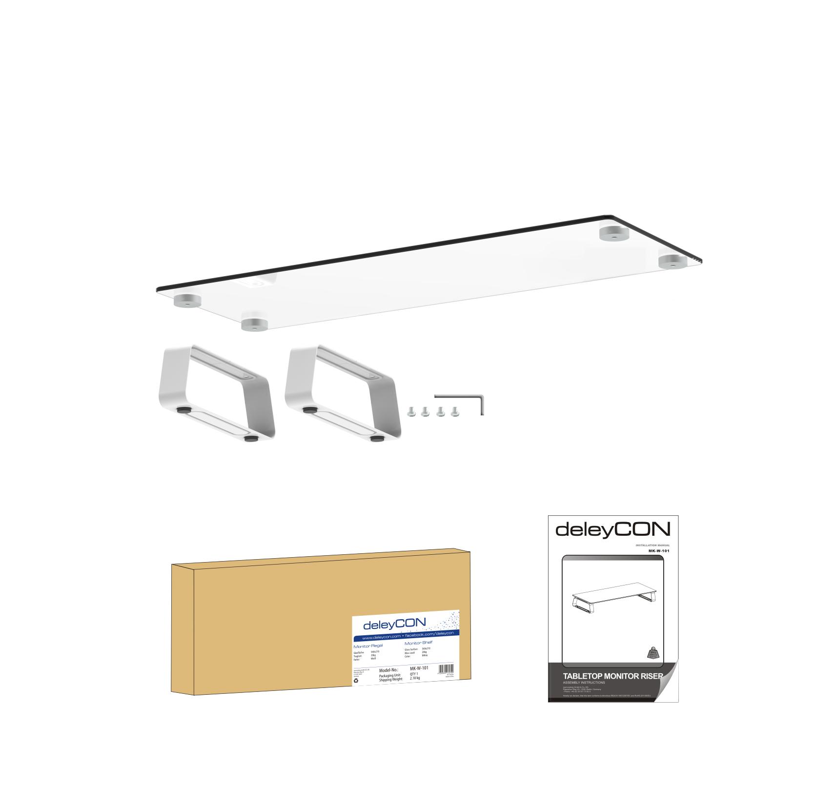 deleycon monitor st nder ablage glas tisch bildschirm monitor erh hung bis 20kg ebay. Black Bedroom Furniture Sets. Home Design Ideas