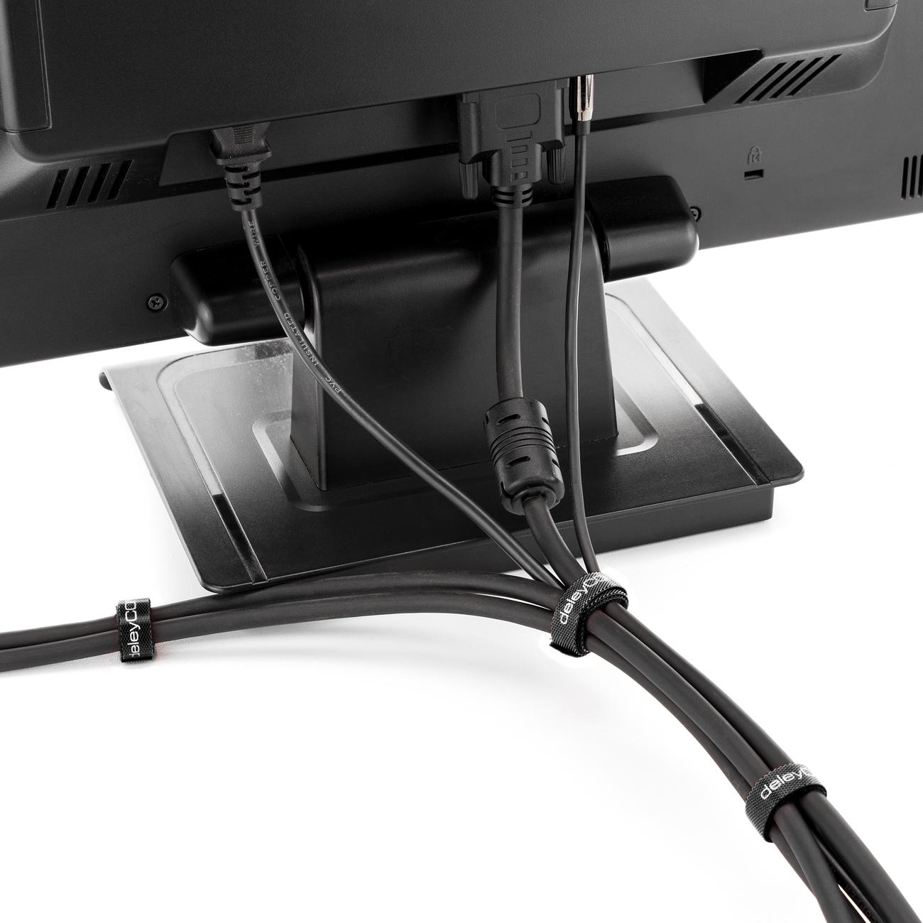 deleycon 50x klett kabelbinder kabel band klettband klettbinder klettverschluss ebay. Black Bedroom Furniture Sets. Home Design Ideas