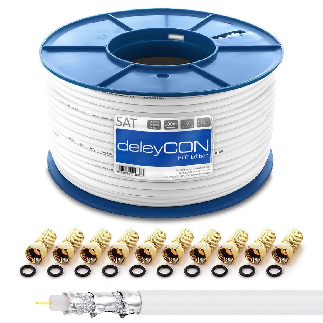 100m SAT Kabel 135dB Koaxial Antennenkabel Digital SAT Koax Kabel ...