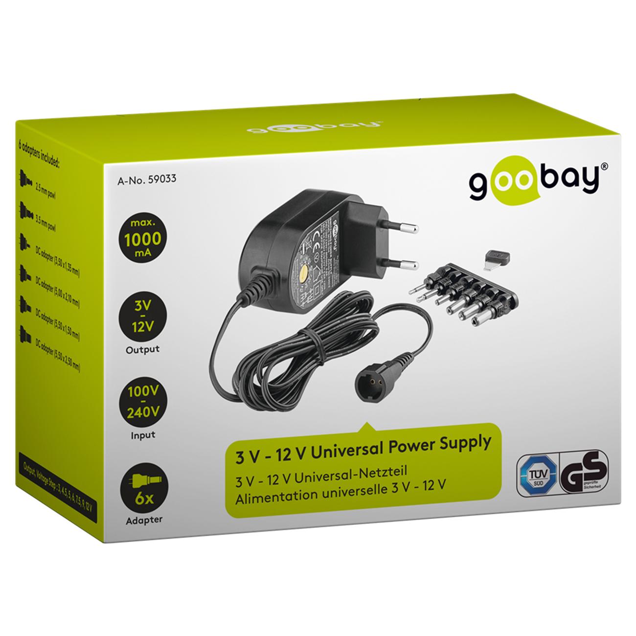 1000ma universal netzteil 12w netzger t ladeger t ladekabel 6x adapter 3v 12v ebay. Black Bedroom Furniture Sets. Home Design Ideas