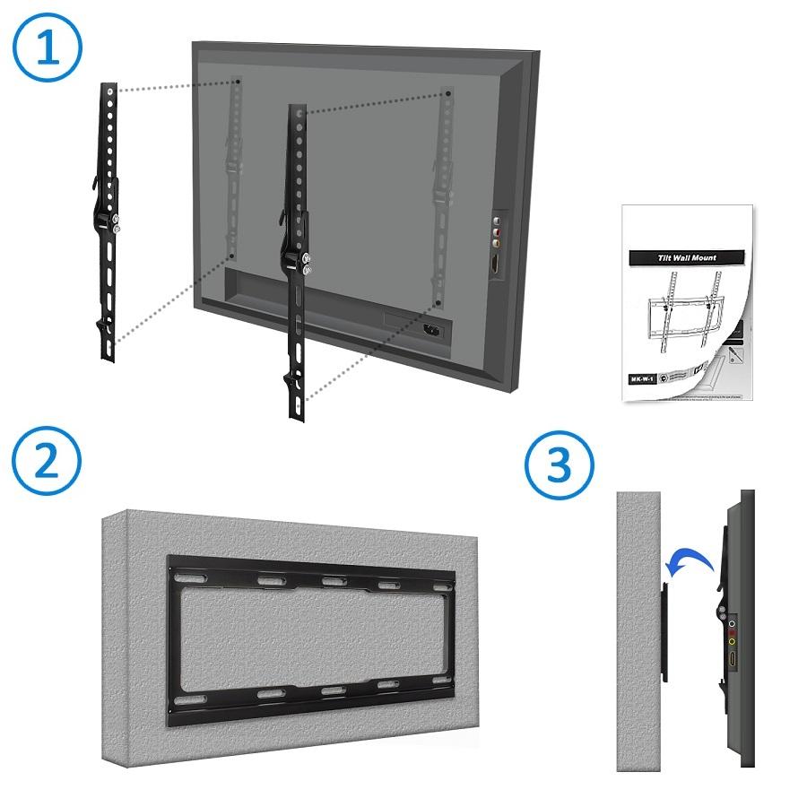 deleycon universal tv wandhalterung bis 65 zoll 165cm neigbar bis 35kg ebay. Black Bedroom Furniture Sets. Home Design Ideas
